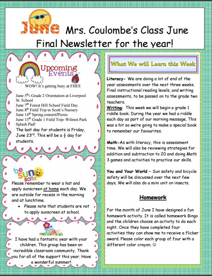 mrs coulombe s class june final newsletter for the year