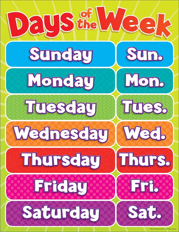 learn the days of the week teachers