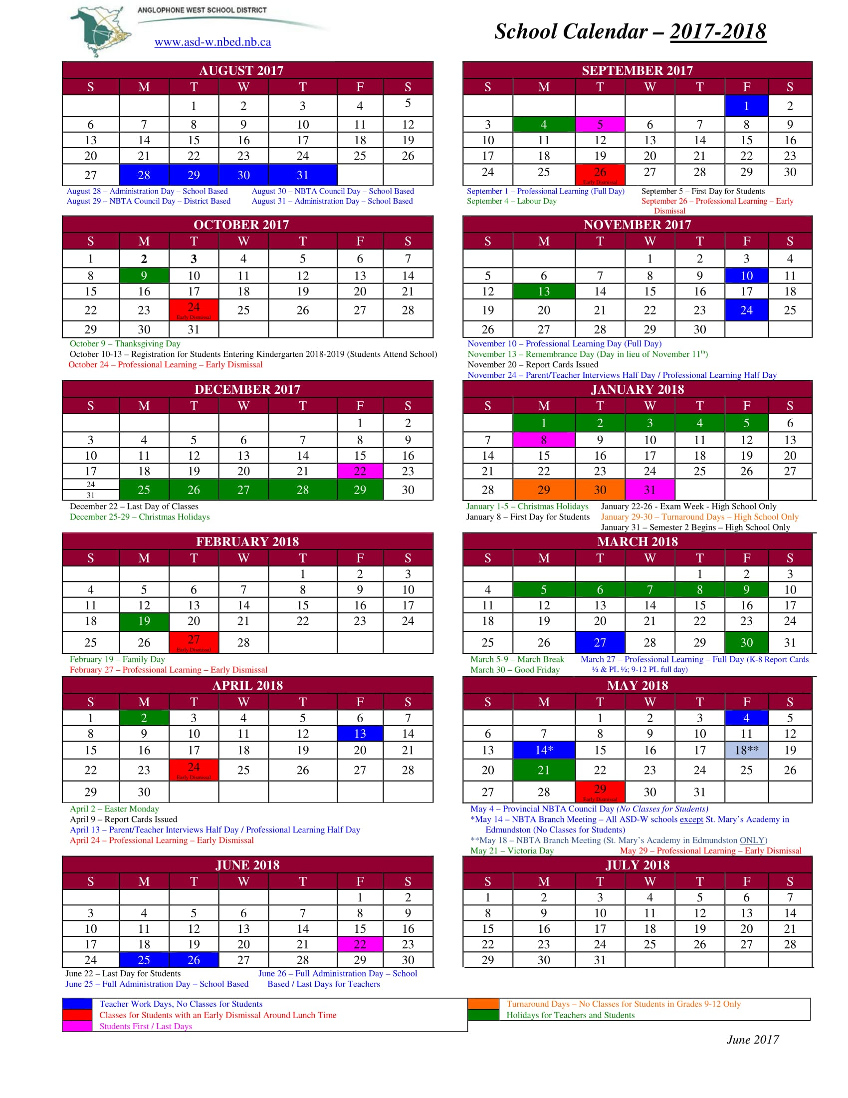 District News   School year calendar for 2017 18